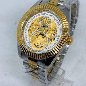 Montre Rolex   Gris et Or cadran or et blanc