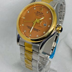 Montre Rolex Oyster perpetual Superlative Chronometer Gris et or cadran Rouge