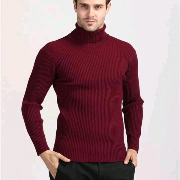 Pull col roulé gorgeon rouge